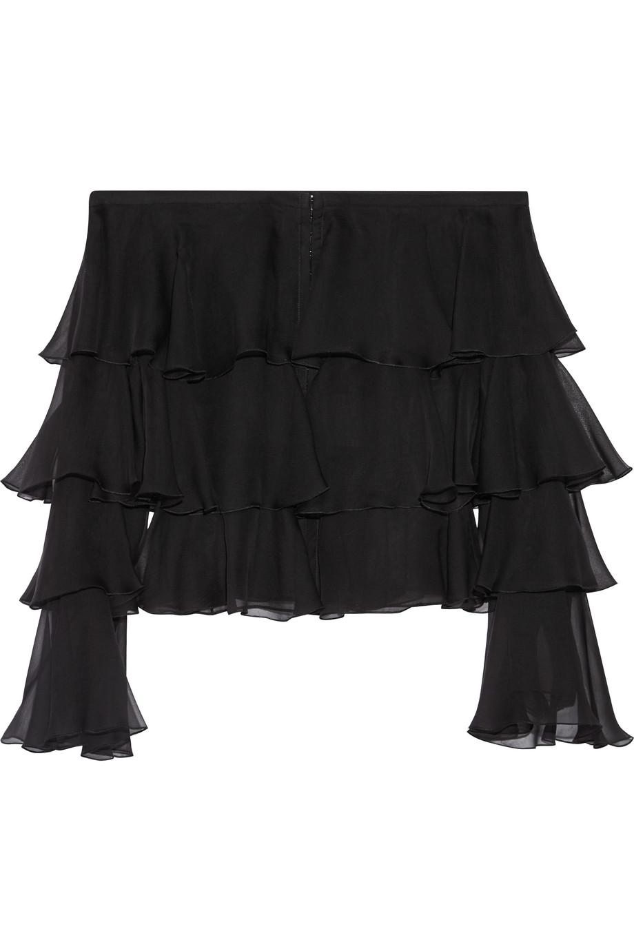 Balmain Off-the-Shoulder Ruffled Silk-Chiffon Blouse, Black, Women's, Size: 34