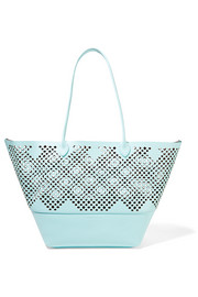 Brenna laser-cut textured-leather tote