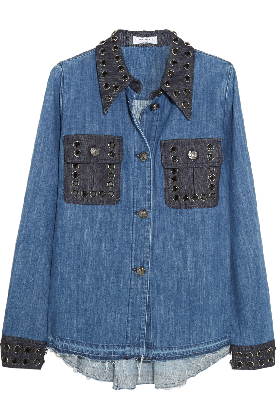 Sonia Rykiel Crystal-Embellished Two-Tone Denim Shirt, Blue, Women's, Size: 36