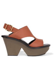 Leather slingback platform sandals