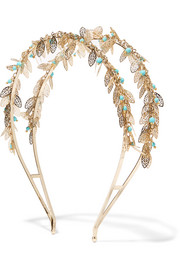 Filigrane gold-tone turquoise headband