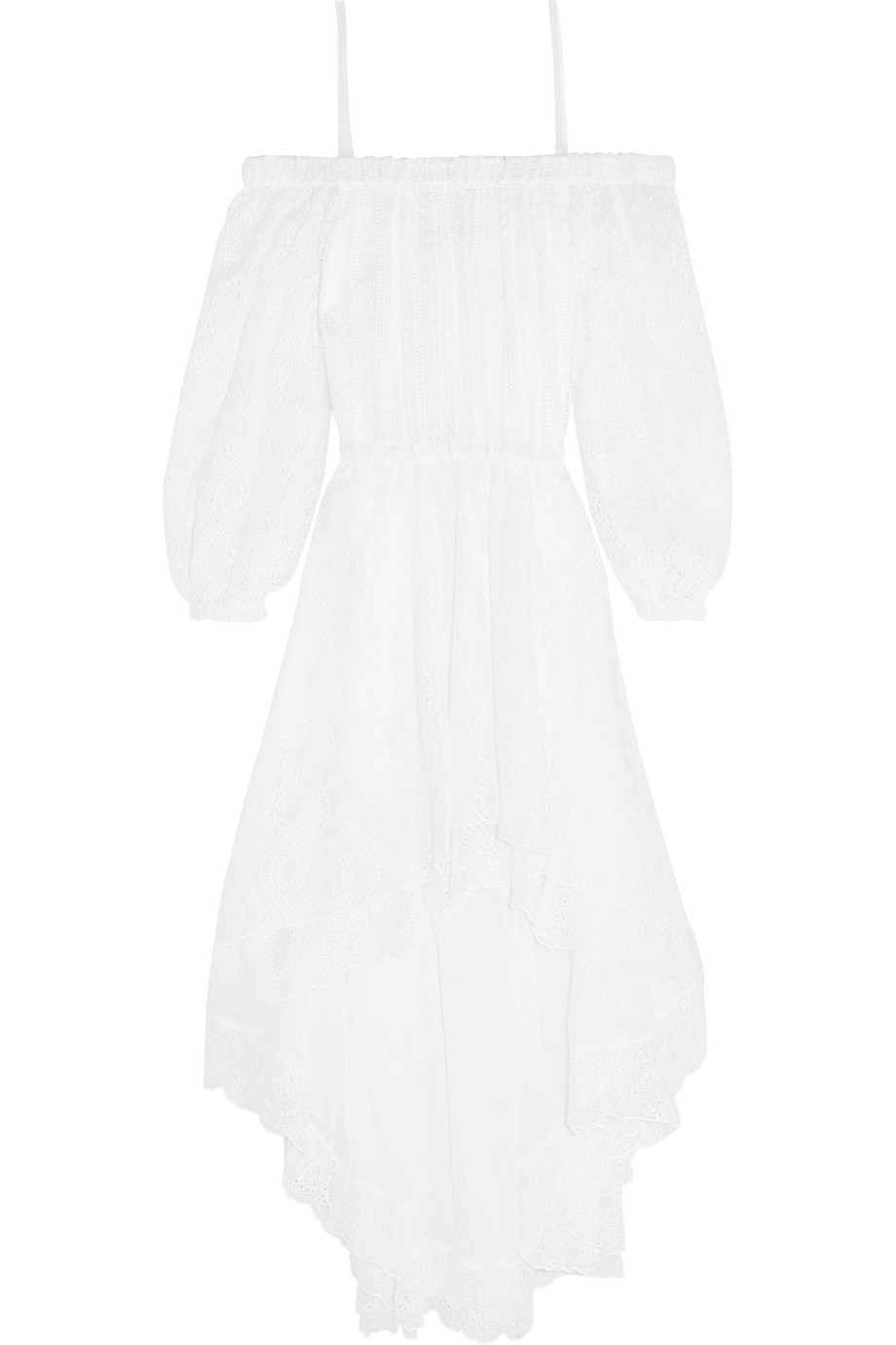 Off-the-Shoulder Broderie Anglaise Cotton-Blend Dress, White, Women's - Floral, Size: 46
