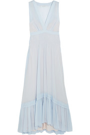 Smocked silk-chiffon gown