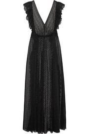 Ruffled broderie anglaise cotton-blend and chiffon maxi dress