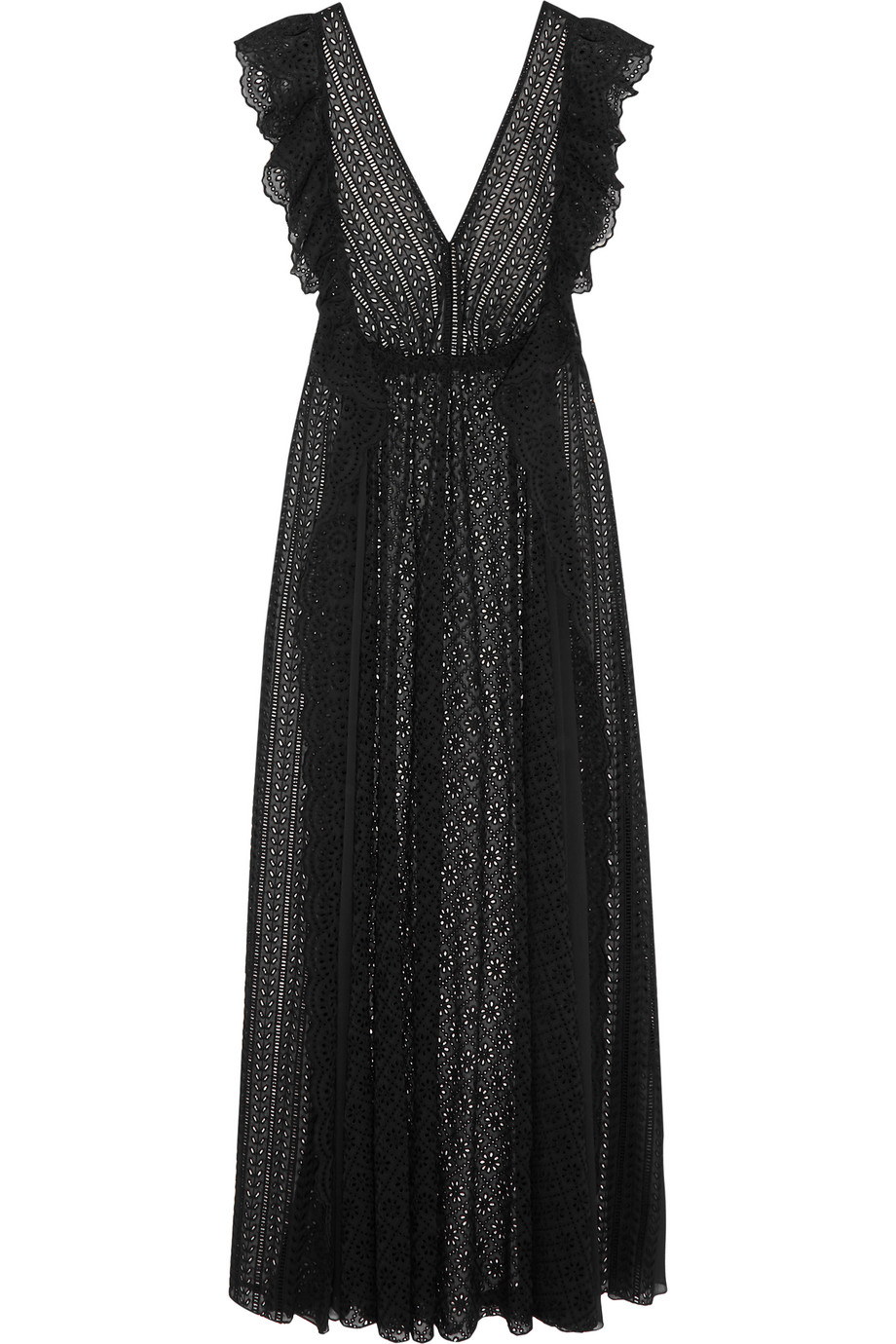 Ruffled Broderie Anglaise Cotton-Blend and Chiffon Maxi Dress, Black, Women's, Size: 44