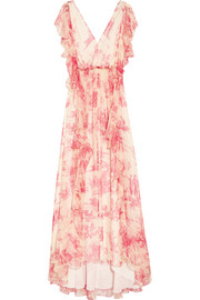Ruffled printed silk-georgette maxi dress