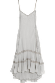 Philosophy di Lorenzo Serafini  Lace-trimmed silk-georgette dress