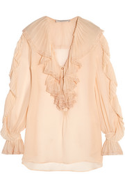 Lace-trimmed ruffled silk-georgette blouse