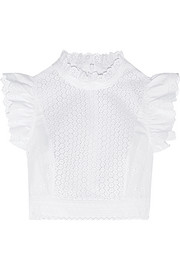 Cropped broderie anglaise cotton-blend top