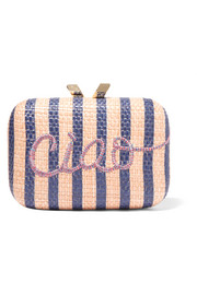 Ciao Morley embroidered raffia box clutch