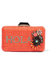 Hola Espey embellished raffia box clutch
