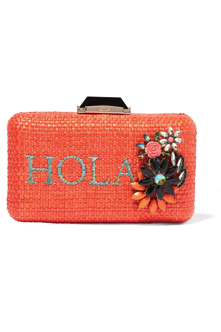 Kotur Hola Espey Embellished Raffia Box Clutch, Orange, Women's
