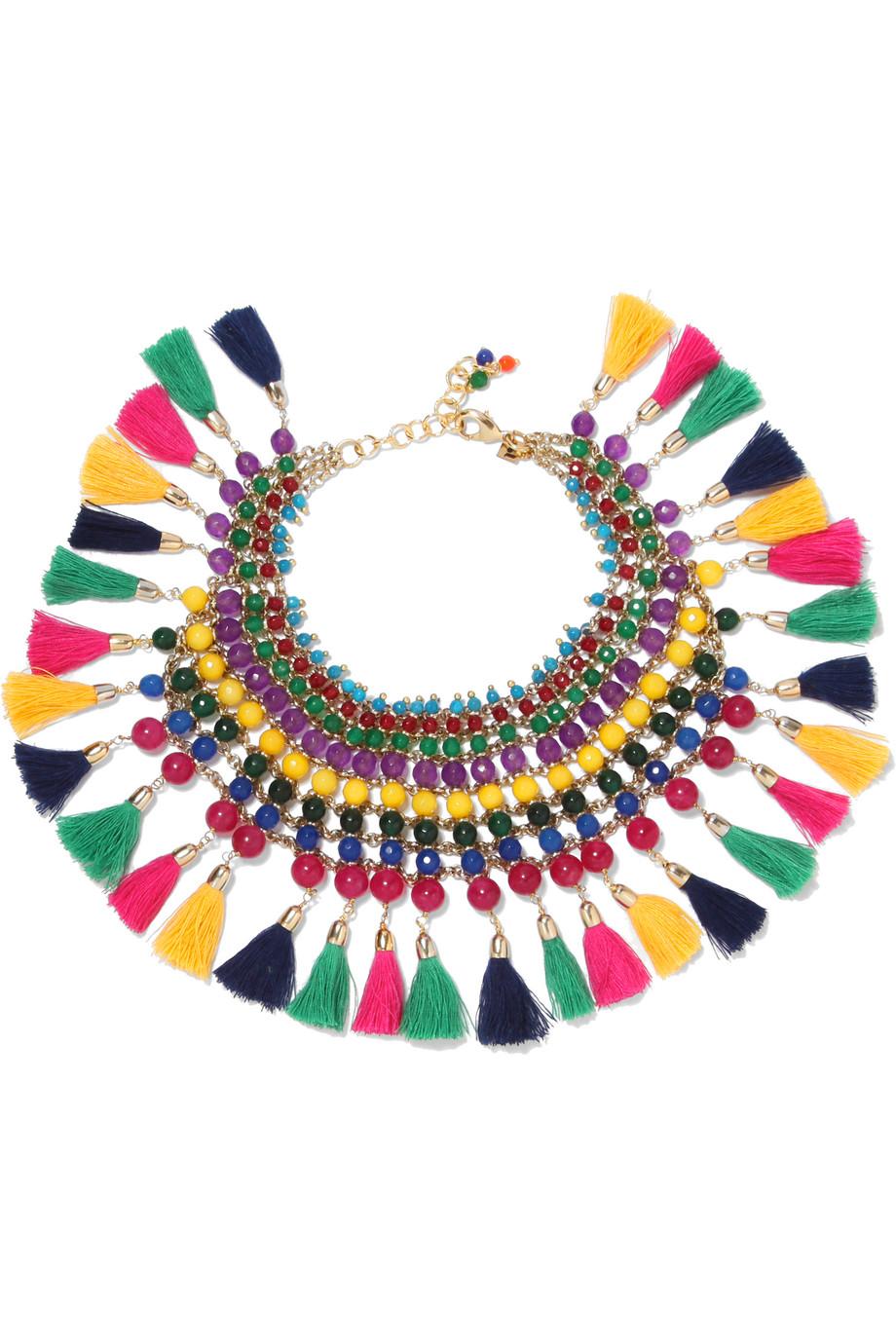 Rosantica Geranio Tasseled Gold-Tone Quartz Anklet, Green/Yellow, Women's