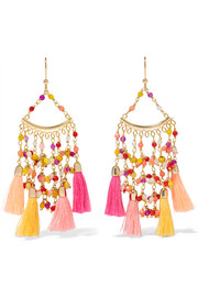 Kilimangiaro tasseled gold-tone beaded earrings