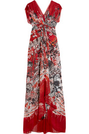 Twist-front printed silk-georgette gown