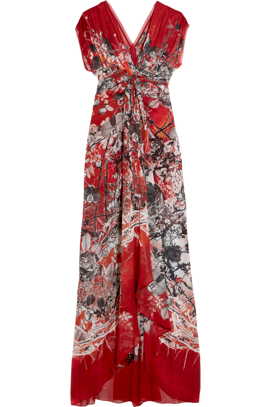 Roberto Cavalli Twist-Front Printed Silk-Georgette Gown, Red, Women's, Size: 38
