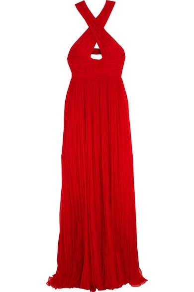 Roberto Cavalli - Cutout Pleated Silk-chiffon Gown - Red