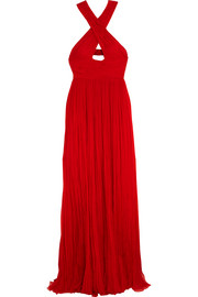 Cutout pleated silk-chiffon gown
