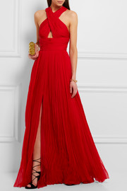 Roberto Cavalli Cutout pleated silk-chiffon gown
