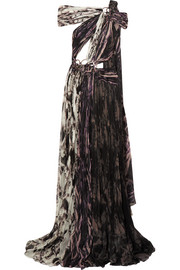 Embellished printed plissé silk gown