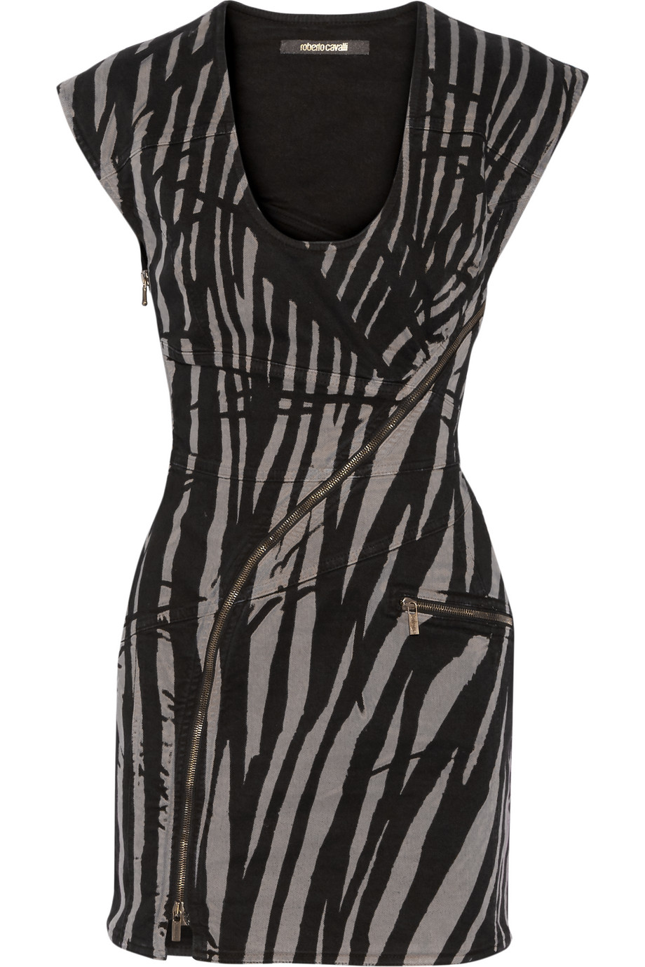 Roberto Cavalli Tiger-Print Denim Mini Dress, Black/Zebra Print, Women's - Printed, Size: 38