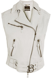 Oversized textured-leather vest