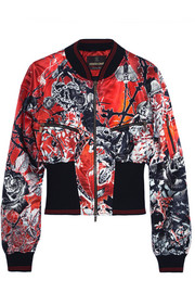 Printed ribbed jersey-trimmed satin bomber jacket