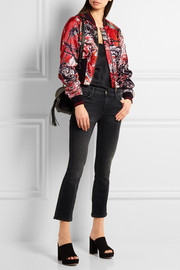 Roberto Cavalli Printed ribbed jersey-trimmed satin bomber jacket