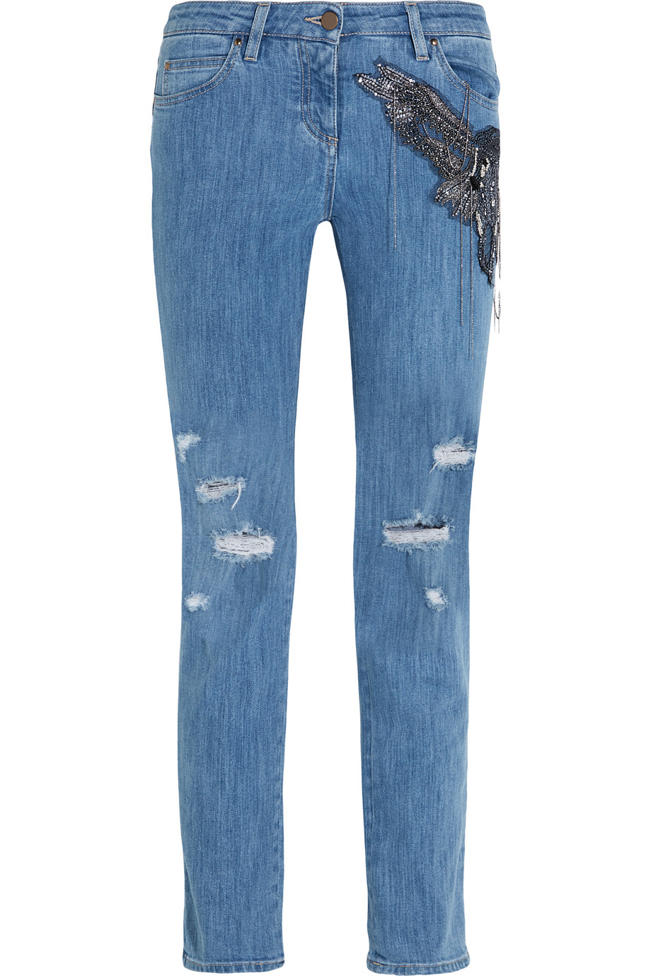 Roberto Cavalli Distressed Embellished Silk-Appliquéd Mid-Rise Straight-Leg Jeans, Mid Denim, Women's, Size: 46