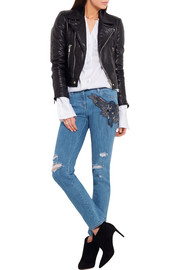 Distressed embellished silk-appliquéd mid-rise straight-leg jeans