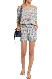 Mosaic printed silk crepe de chine playsuit