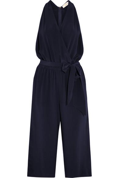 Tory Burch - Wrap-effect Silk-crepe Jumpsuit - Navy