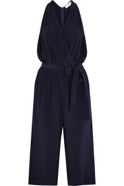 Tory Burch Wrap-effect silk-crepe jumpsuit