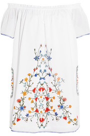 Tory Burch Monterosso off-the-shoulder embroidered cotton-voile mini dress