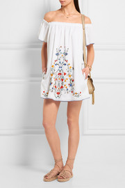Monterosso off-the-shoulder embroidered cotton-voile mini dress