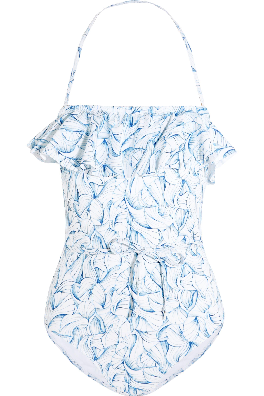 Tory Burch Sapri ruffled printed swimsuit