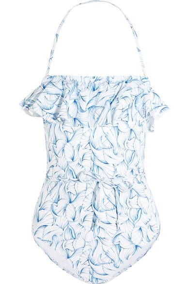 Tory Burch - Sapri Ruffled Printed Swimsuit - Light blue