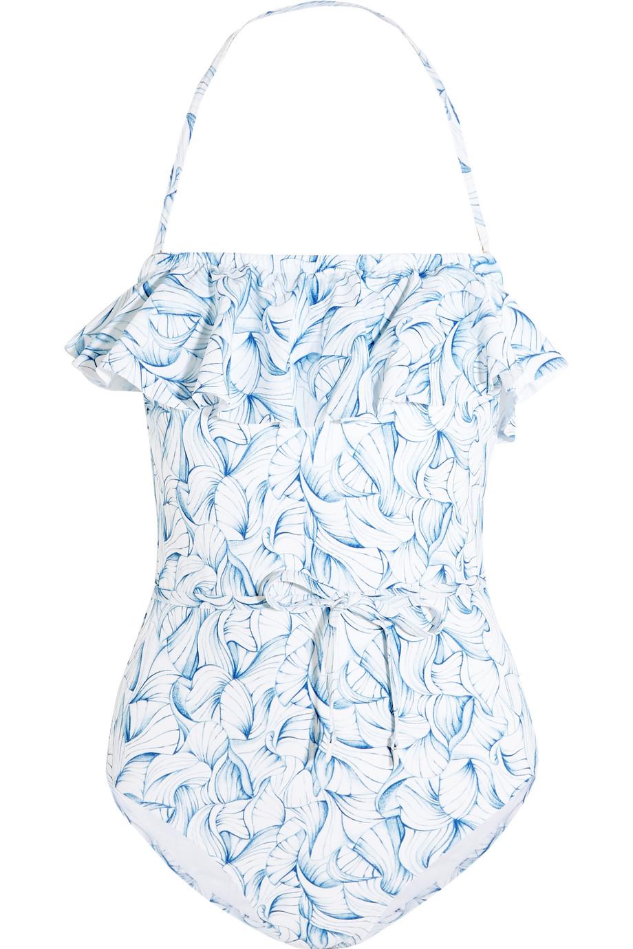 Tory Burch Sapri Ruffled Printed Swimsuit, Light Blue, Women's, Size: XS