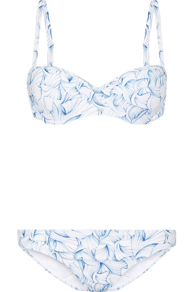 Tory Burch - Sapri Printed Underwired Bikini - Light blue