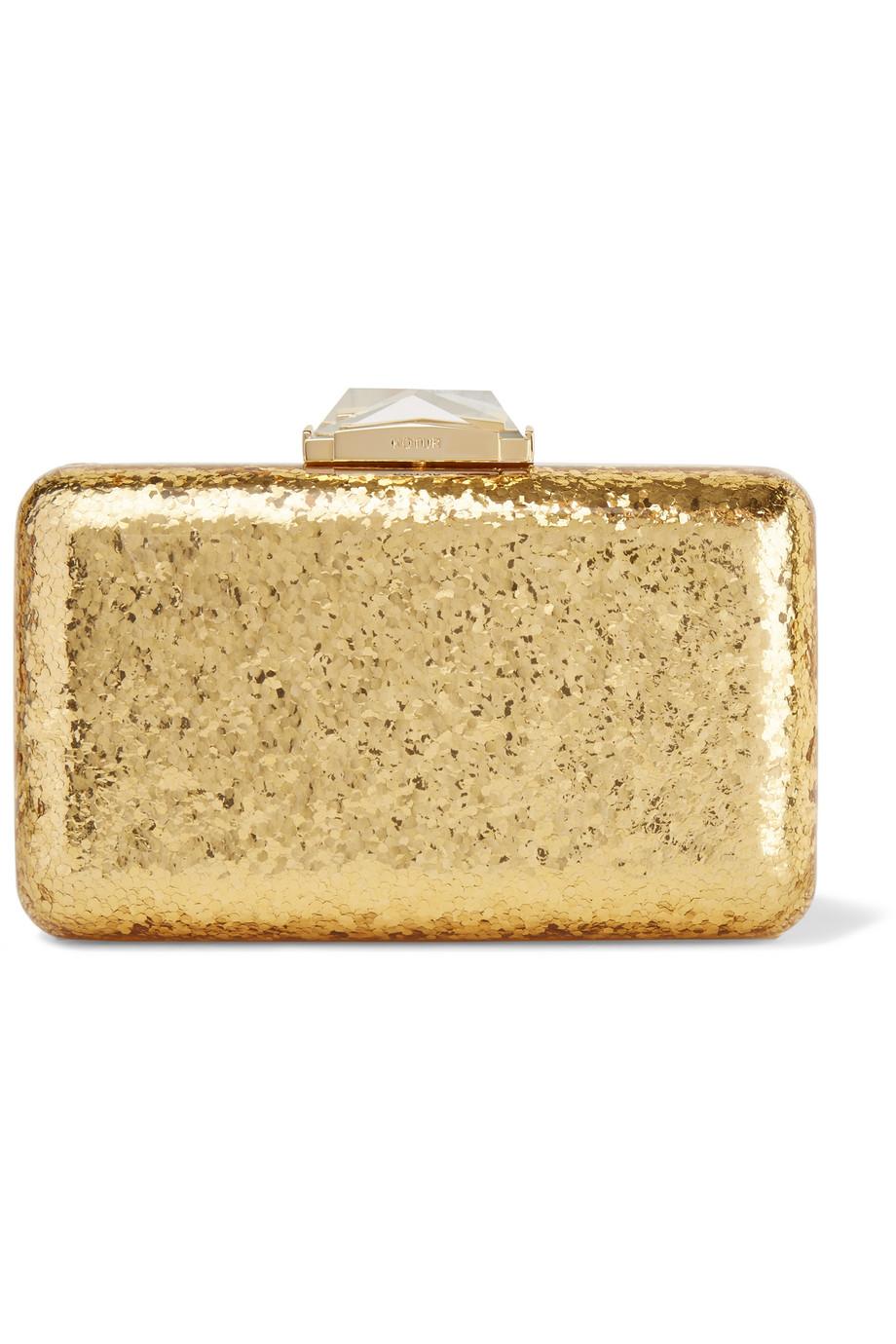 Kotur Ross Framed Espey Glittered Perspex Box Clutch, Gold, Women's