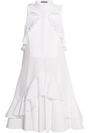 Ruffled piqué-trimmed cotton-jacquard dress