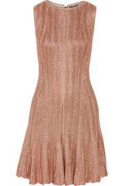 Metallic ribbed-knit mini dress