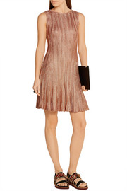 Alexander McQueen Metallic ribbed-knit mini dress