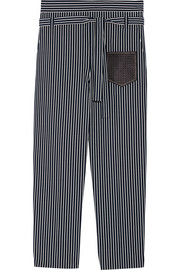 Leather-trimmed striped cotton-poplin tapered pants