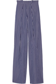 Striped cotton-poplin wide-leg pants