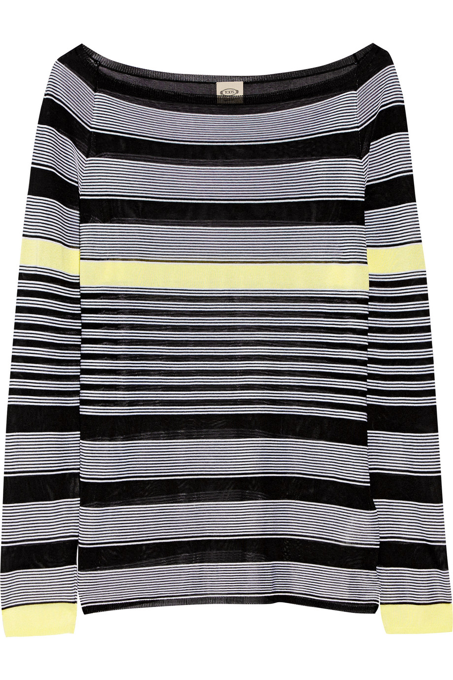 Tod's Striped Stretch-Knit Sweater, Black, Women's, Size: L