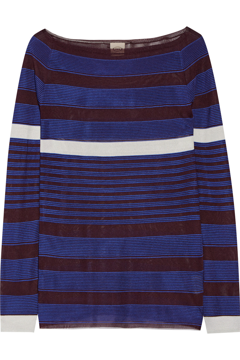 Tod's Striped Stretch-Knit Sweater, Cobalt Blue, Women's