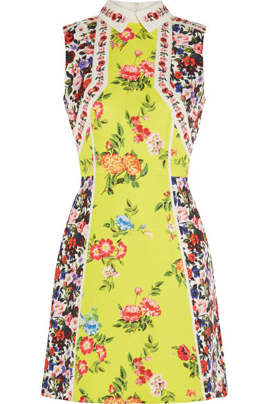 Mary Katrantzou - Amore Floral-print Silk-blend Cloqué Mini Dress - Yellow