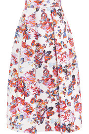 Midlar printed silk and cotton-blend jacquard skirt