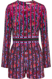 Poppies printed silk-crepe playsuit